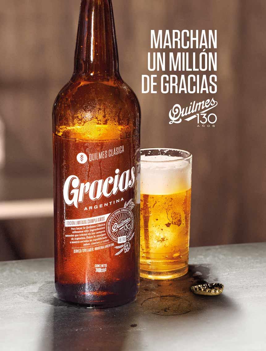 Cerveza Quilmes celebra sus 130 años con un millón de gracias a Argentina | Loopulo